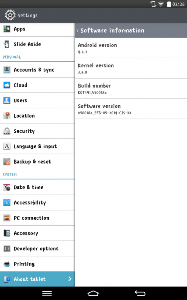 fuite android 4.4.2 kitkat lg g pad 8.3 image 01