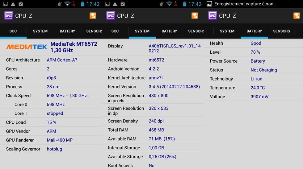 CPU-Z archos 40b titanium