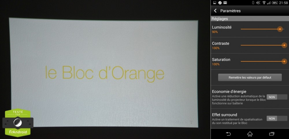 Bloc-Orange-rétro-projecteur-Luminosité-test