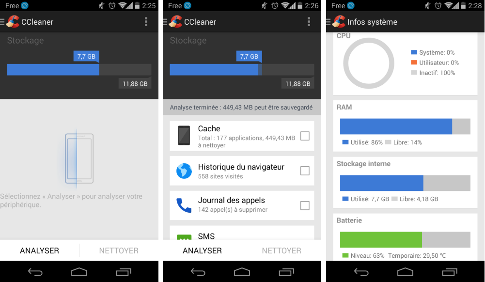 Interface Android Ccleaner