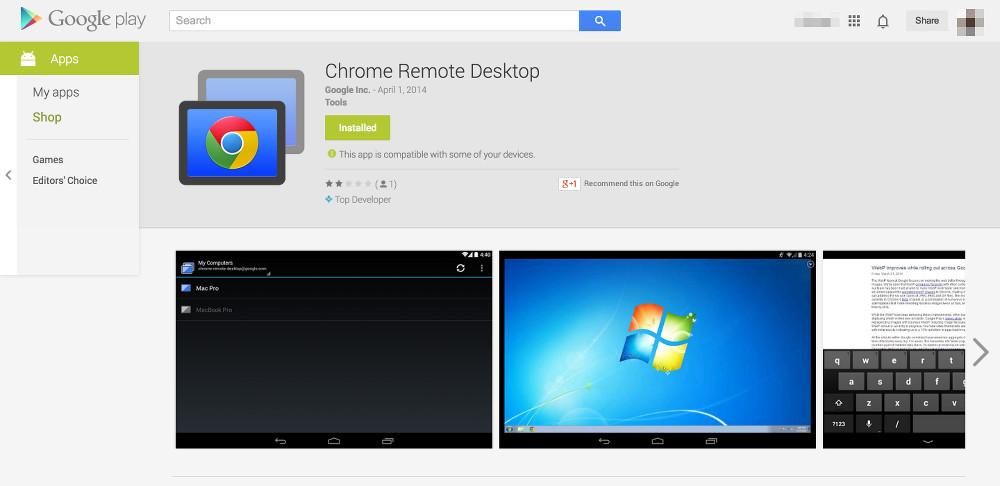 chrome remote desktop arrive en b ta priv e sur le google play. Black Bedroom Furniture Sets. Home Design Ideas