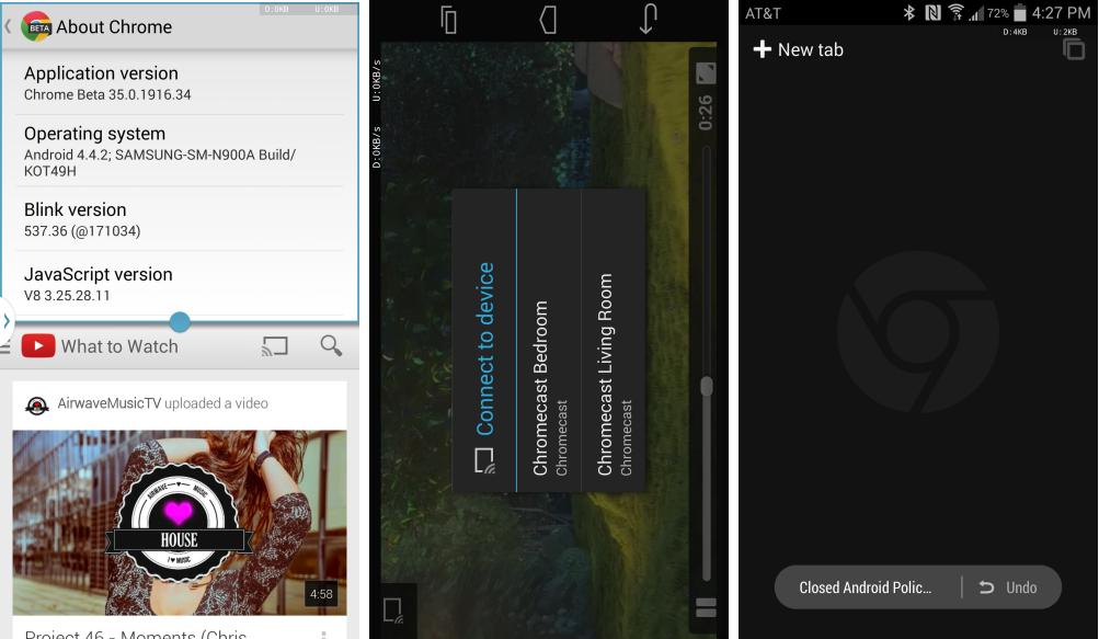 Chrome 35 beta sur android est compatible avec le multi for Multi fenetre android