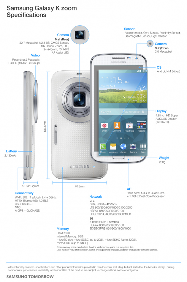 galaxy k zoom spec