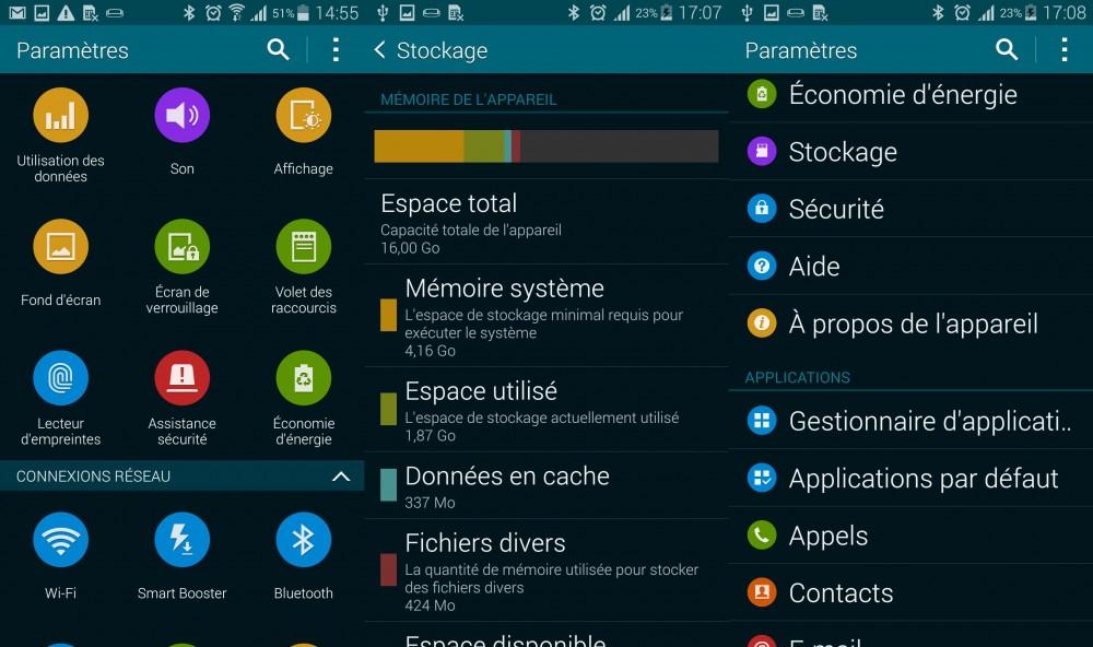 paramètres Galaxy S5