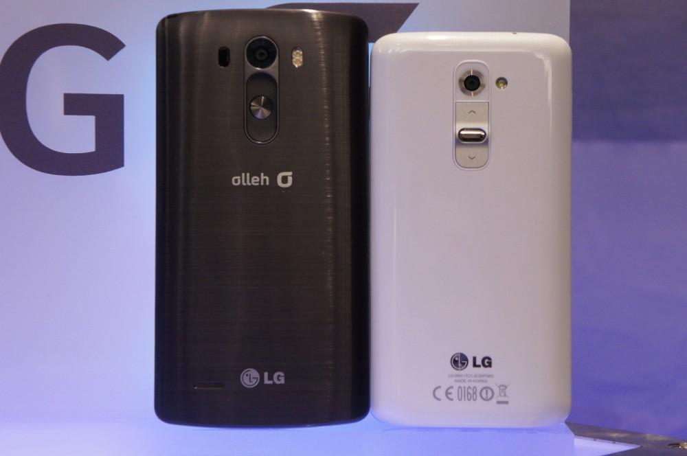 LG G3 à gauche, LG G2 à droite