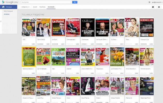 Google Play Kiosque magazines payant
