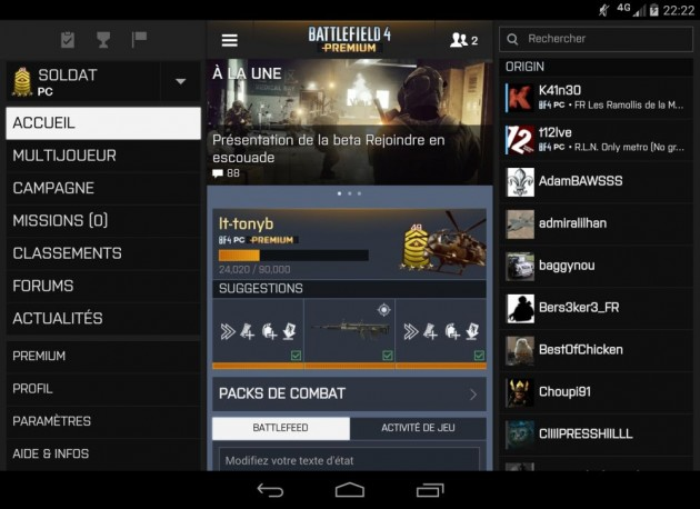 android battlelog 2.2.0 bf3 bf4 capture d'écran recombinées 01