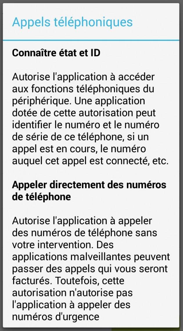 permission appels téléphoniques