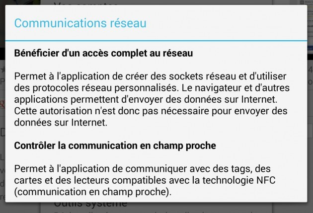 permission communication réseau