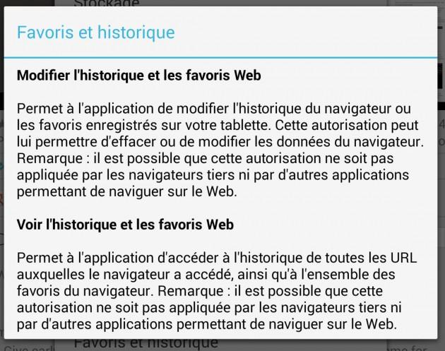 permission historique favoris web