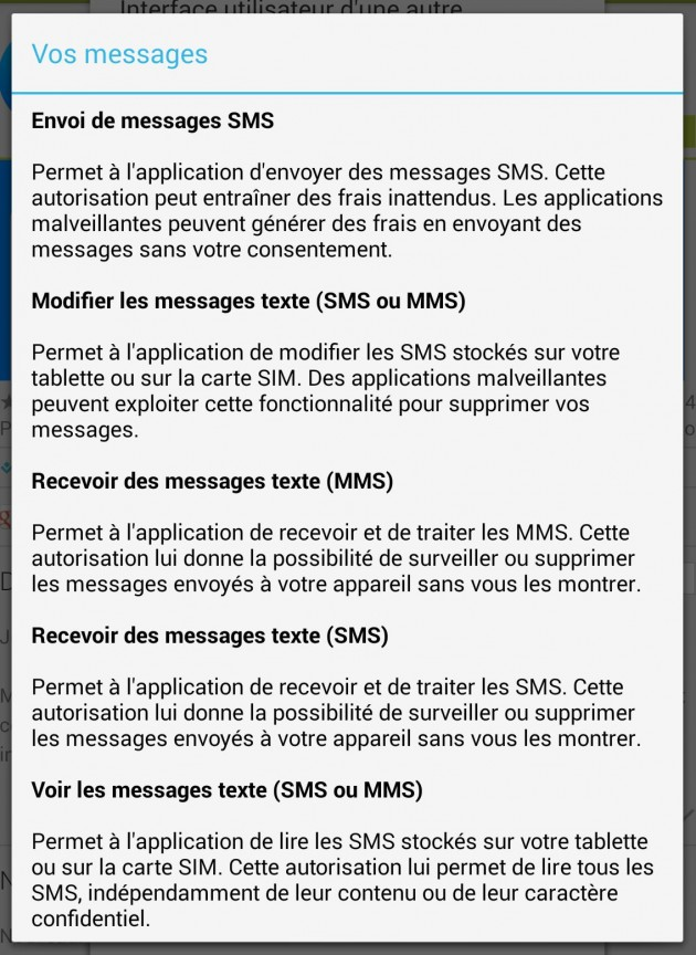 permission sms mms