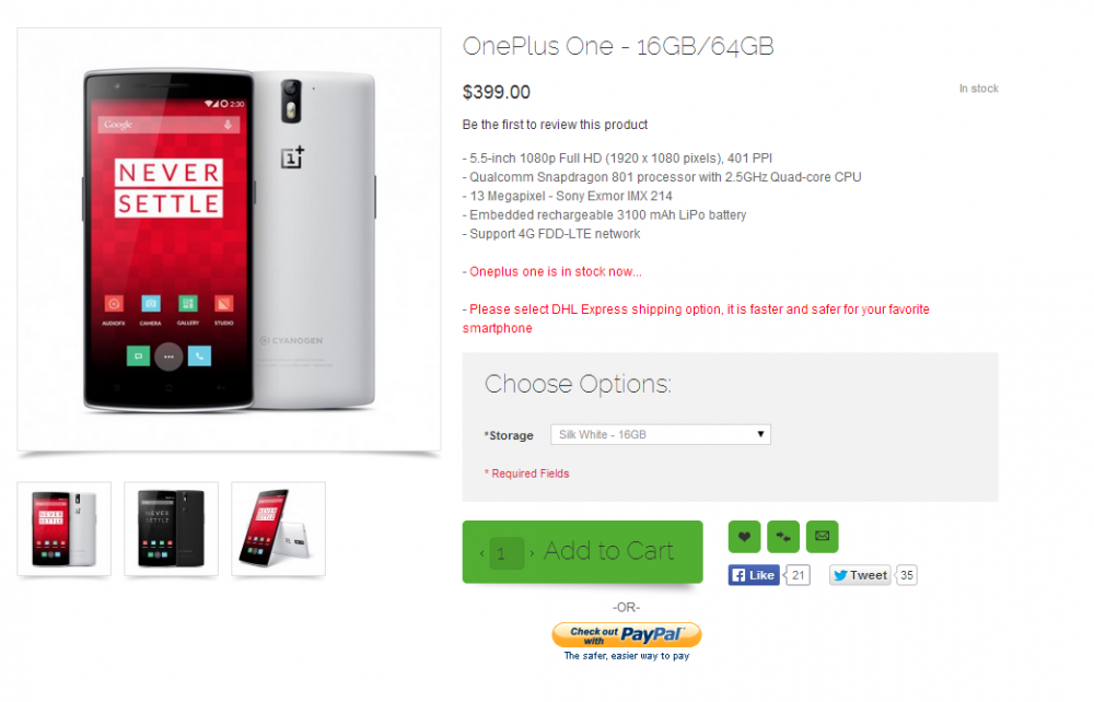 Buy Oneplus One   5.5 inch Screen Qualcomm 801 CPU 3GB RAM CyanogenMod Android Phone