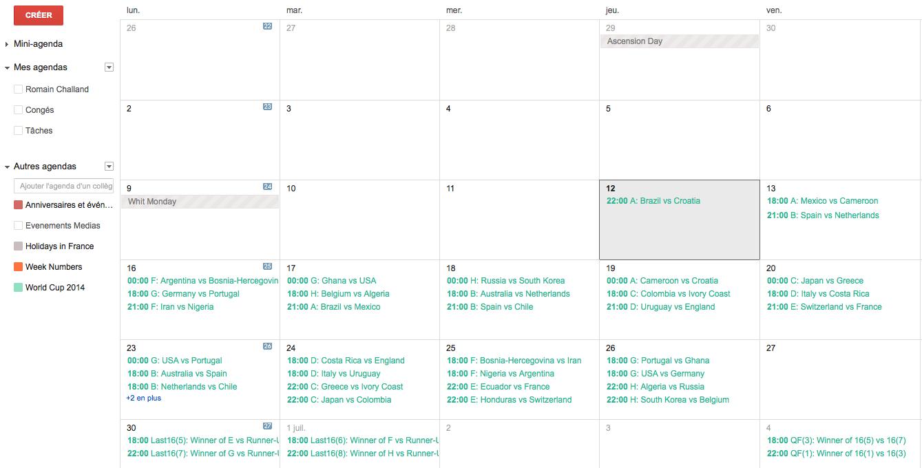 Comment int grer le calendrier de la coupe du monde google agenda frandroid - Calendrier coupe du monde 2014 ...