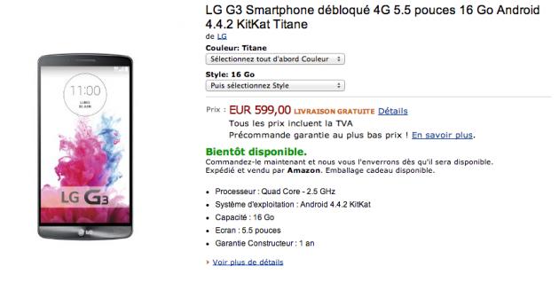 android lg g3 amazon.fr 16 go rom 1 go ram 599 euros image 01