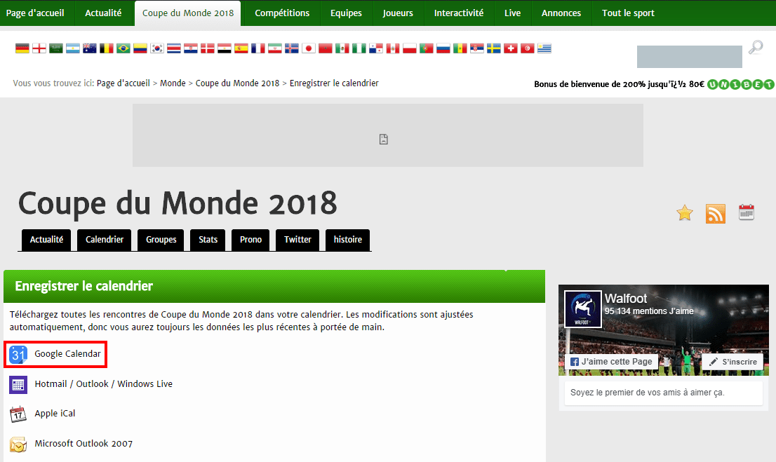 Calendrier Coupe.Comment Integrer Le Calendrier De La Coupe Du Monde 2018 A