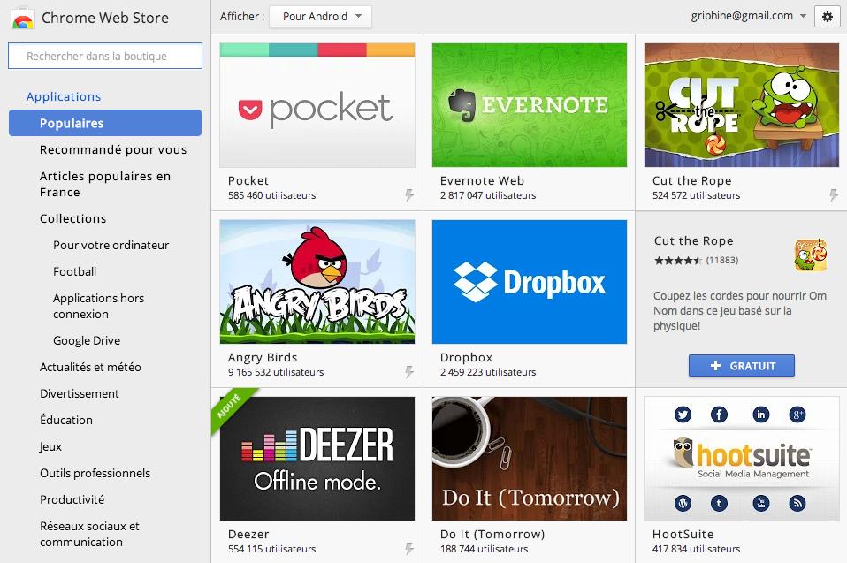 Le Chrome Web Store indique désormais une extensions existe