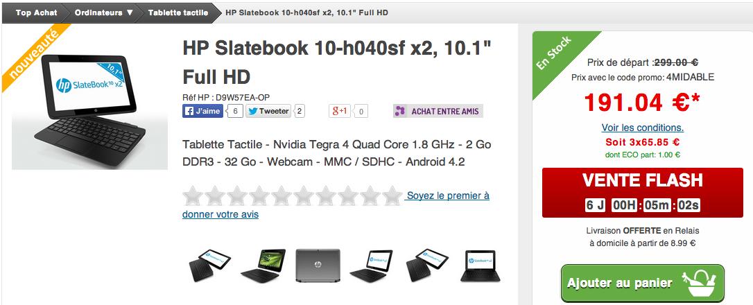 La hp slatebook 10 x2 sous tegra 4 moins de 200 euros - Tablette 10 pouces moins de 200 ...