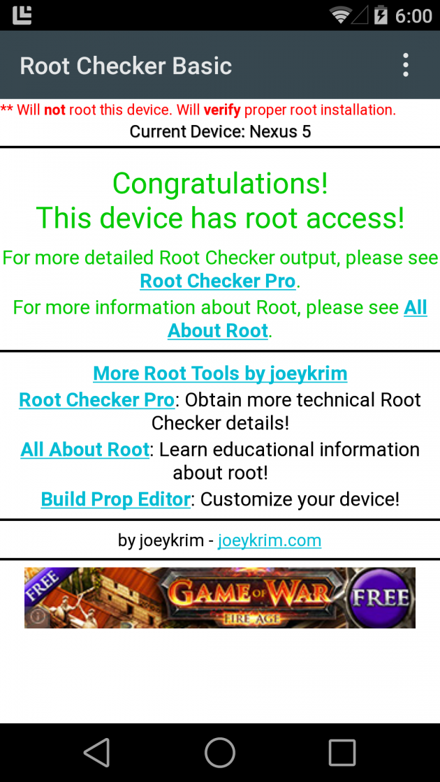 Android L Google Nexus 5 root supersu chainfire image 01
