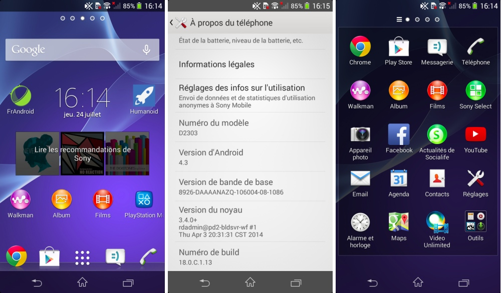 android 4.3 jelly bean test frandroid sony xperia m2 interface logicielle image 01