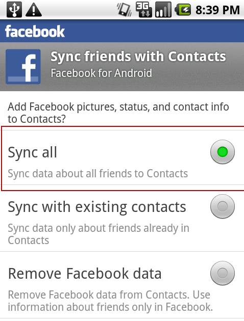 android-facebook-sync