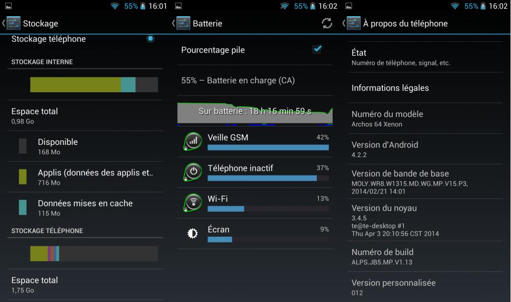 android stock memoire batterie 422 archos xenon 64