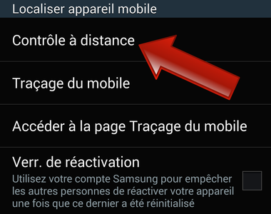 comment controler un telephone samsung a distance
