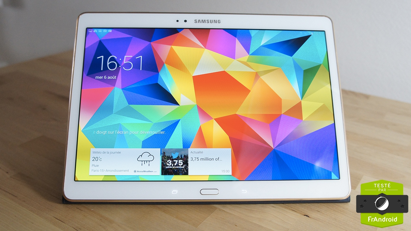Test de la samsung galaxy tab s 10 5 la premi re tablette for Photo ecran tablette samsung