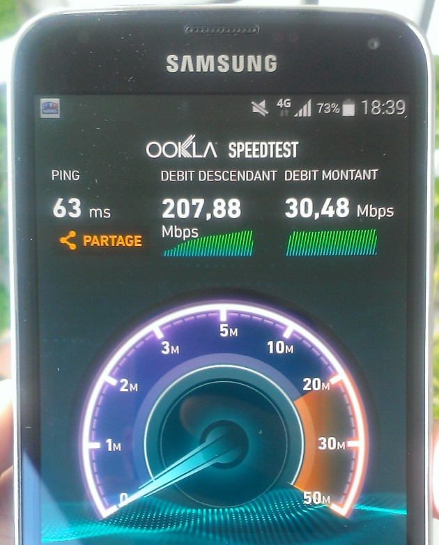 Screenshot Speedtest 207Mbits