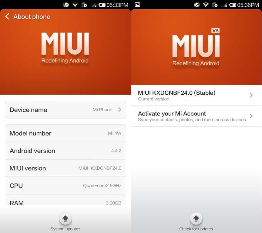 MIUI Android 4.4.2 and 5