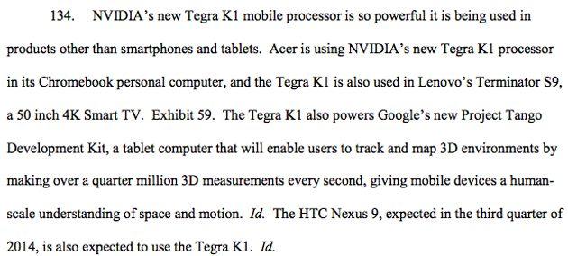 Un extrait du document trouvé sur le site de Nvidia