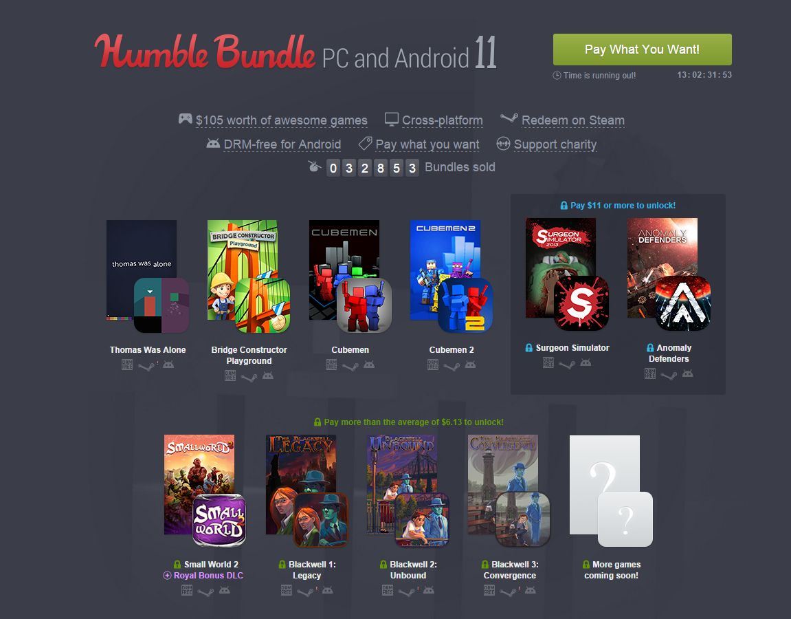 humble bundle 11 10 jeux sur android et pc prix presque choisi frandroid. Black Bedroom Furniture Sets. Home Design Ideas
