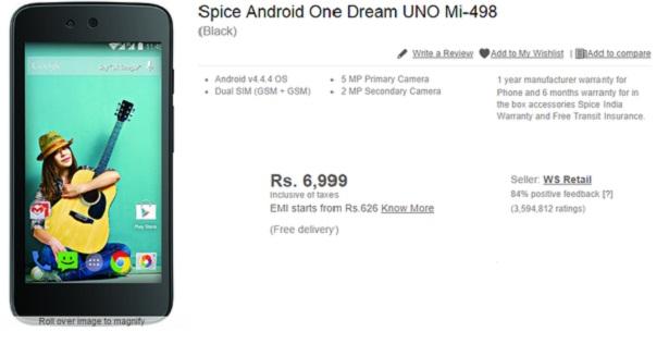 spice android one dream UNO