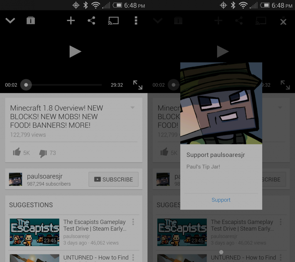 youtube donation appli android