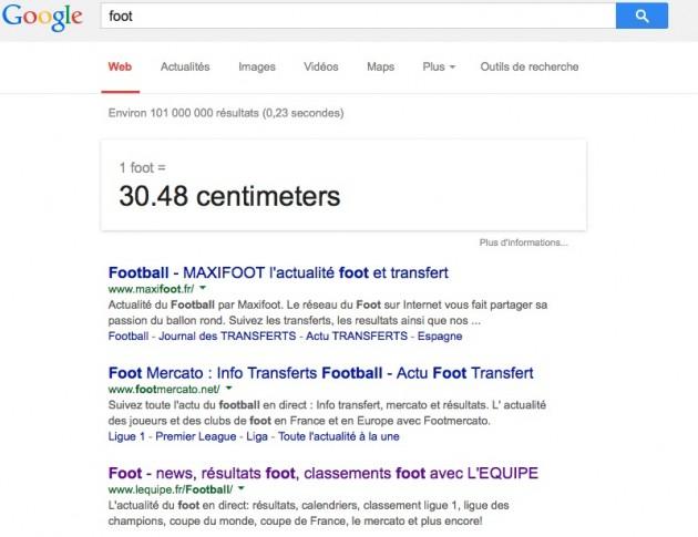 Une recherche Google classique