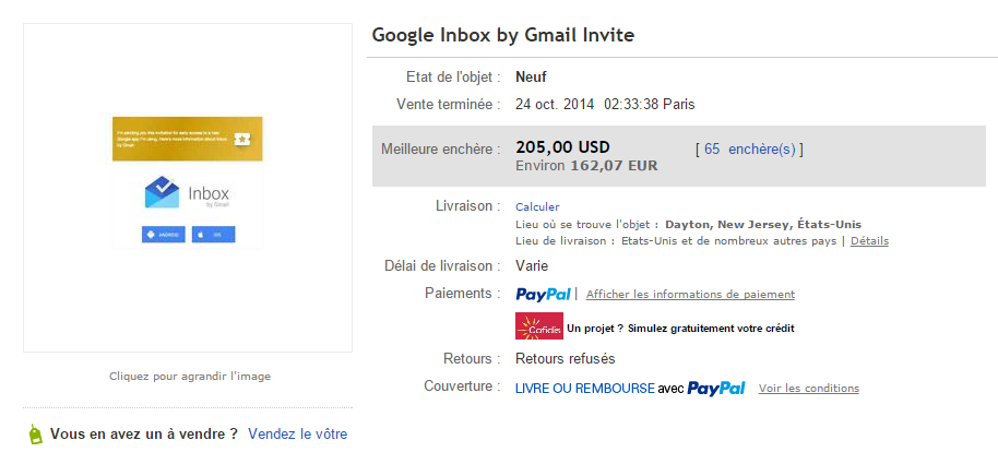 enchere ebay google inbox