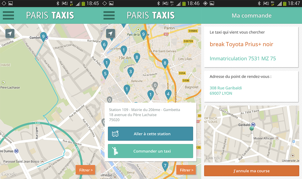 paris taxis la ville choisit la voie du smartphone pour soutenir ses taxis frandroid. Black Bedroom Furniture Sets. Home Design Ideas
