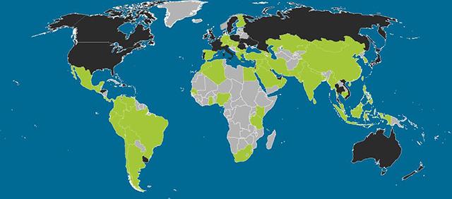 Android est massivement adopté en Afrique (dotmobi). En vert, Android, en noir, iOS.
