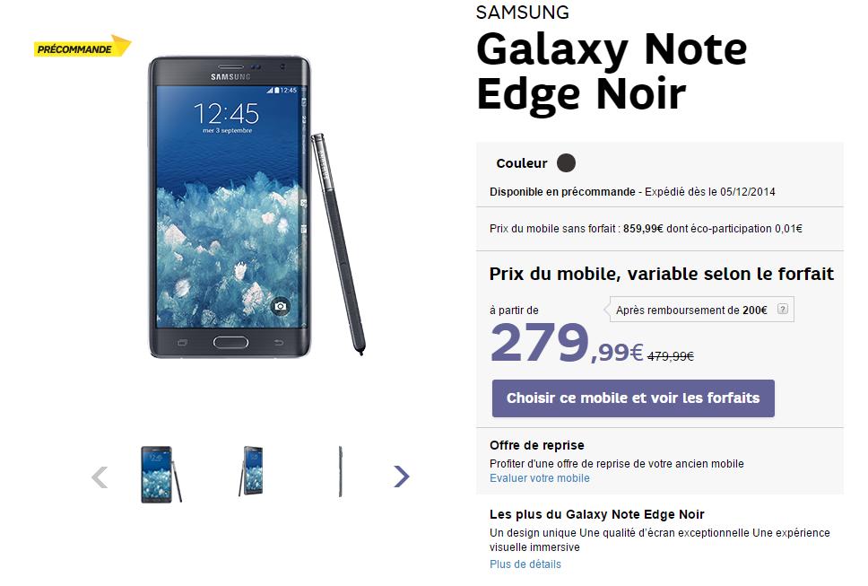 galaxy note edge prix sfr