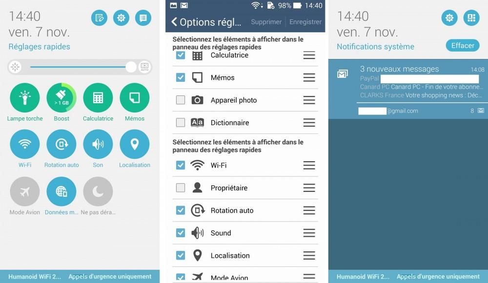 zenfone 5 logiciel notification