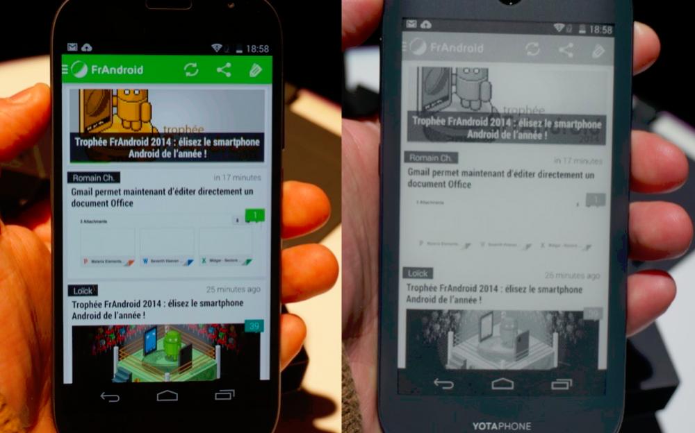 L'écran principal à gauche (FullHD) et l'écran e-ink à droite (qHD)