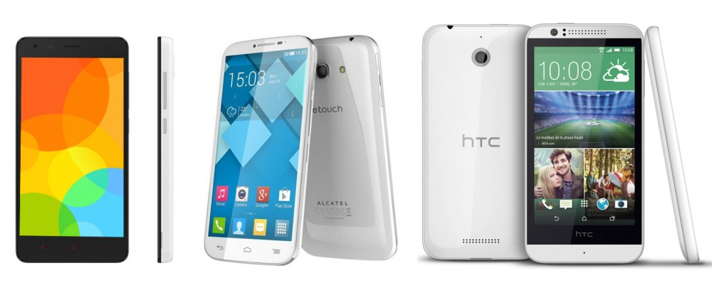 Comparatif Xiaomi Redmi 2, Alcatel One Touch Pop 2 4.5, HTC Desire 510