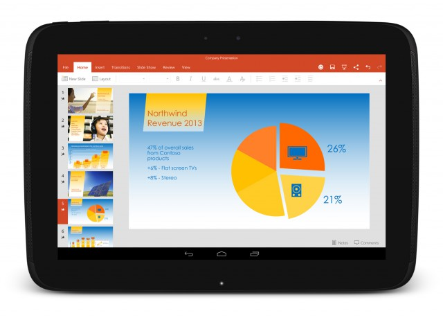 tablette android application microsoft