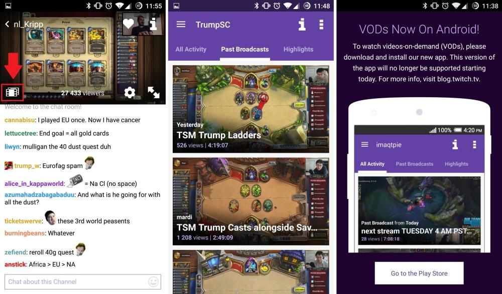 twitch new app vod