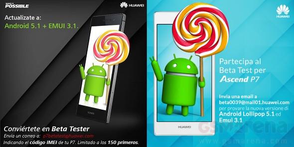 Huawei Ascend P7 : la mise a jour vers Android 5.1 Lollipop est en beta publique...