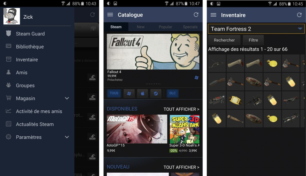 steam android interface