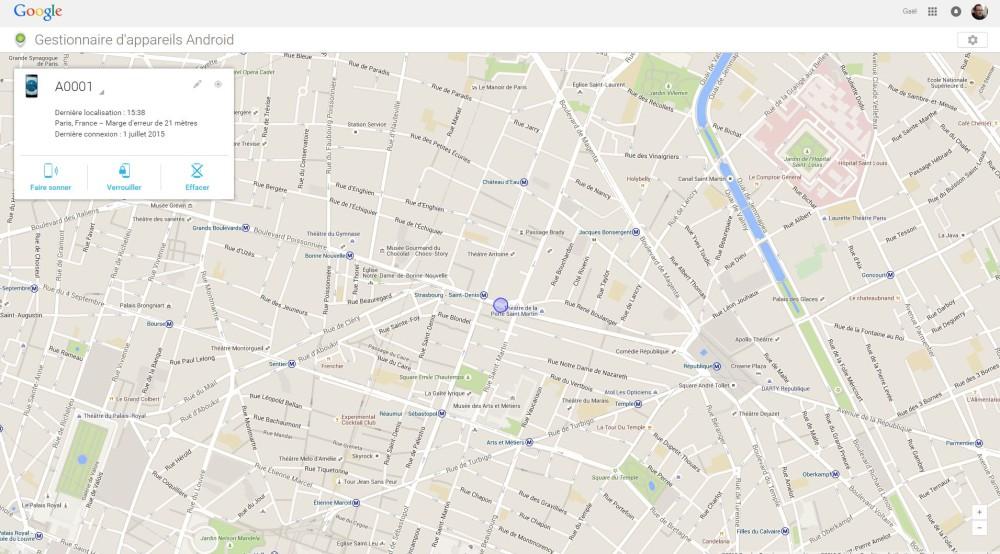 gestionnaire appareils android localisation distance