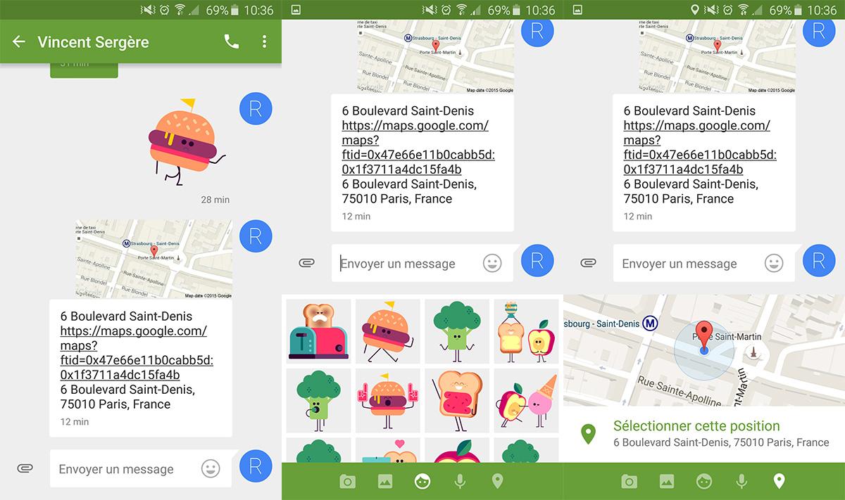 d2b56017f631fd Google Messenger se met à jour avec la localisation et des stickers ...