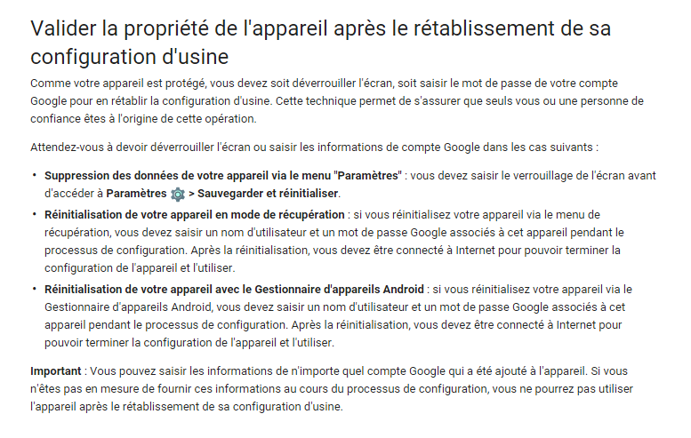 page aide google securite android