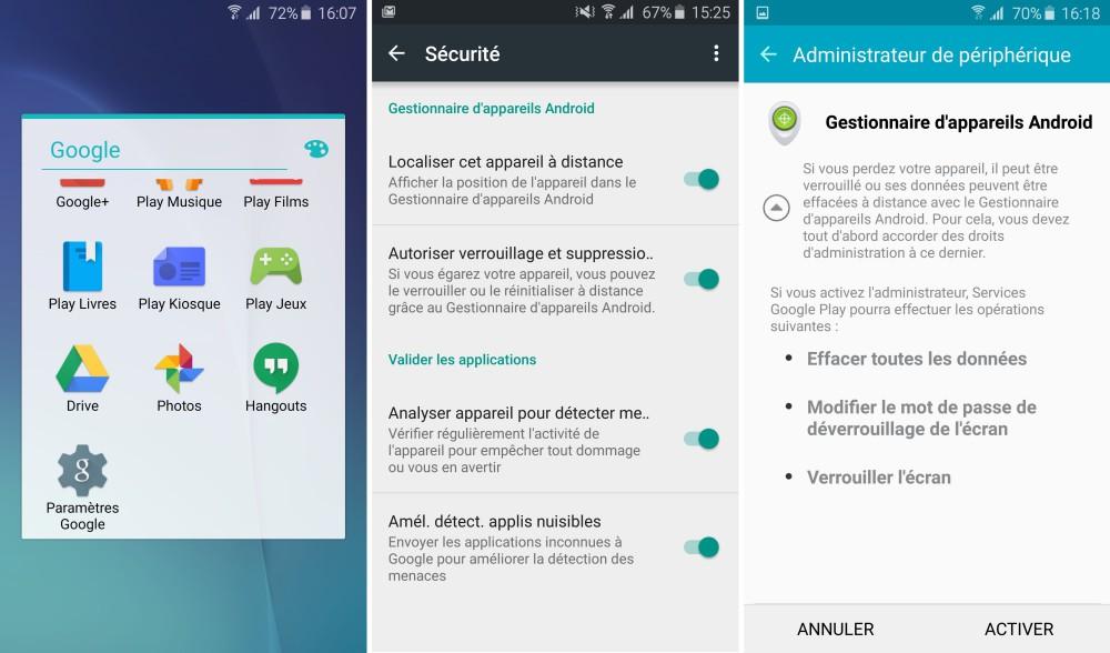 verrouillage distance android parametre google