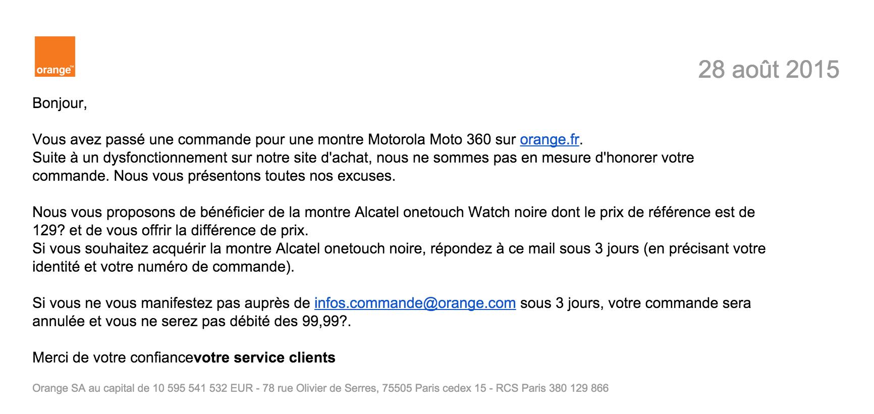 La moto 360 99 euros un dysfonctionnement selon orange frandroid - Delai pour annuler une commande ...